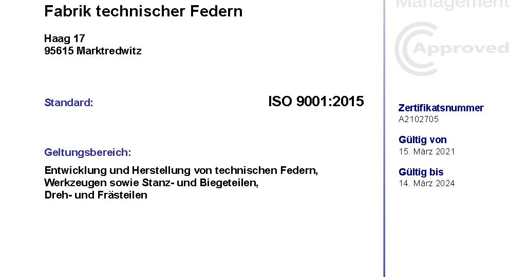 Zertifikat ISO 9001-2015 - Hirsch KG - gültig bis 14.03.2024