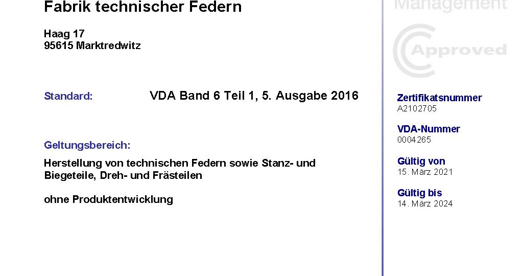 Zertifikat VDA 6.1 - Hirsch KG - gültig bis 14.03.2024